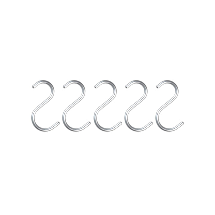 Nomess - S-Hook, mini, aluminium silver, set of 5