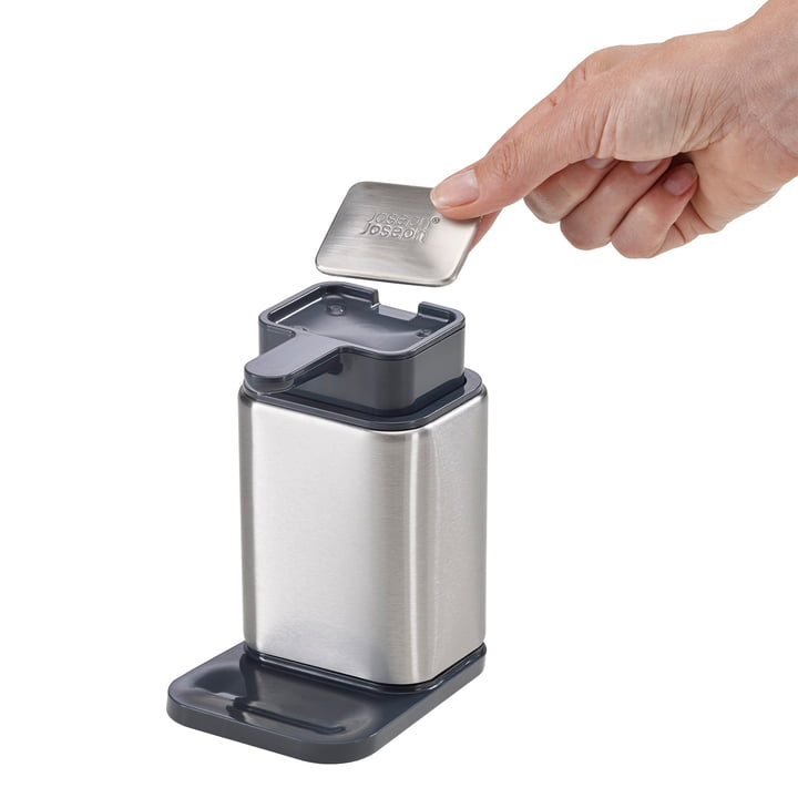 Surface soap dispenser with stainless steel soap by Joseph Joseph