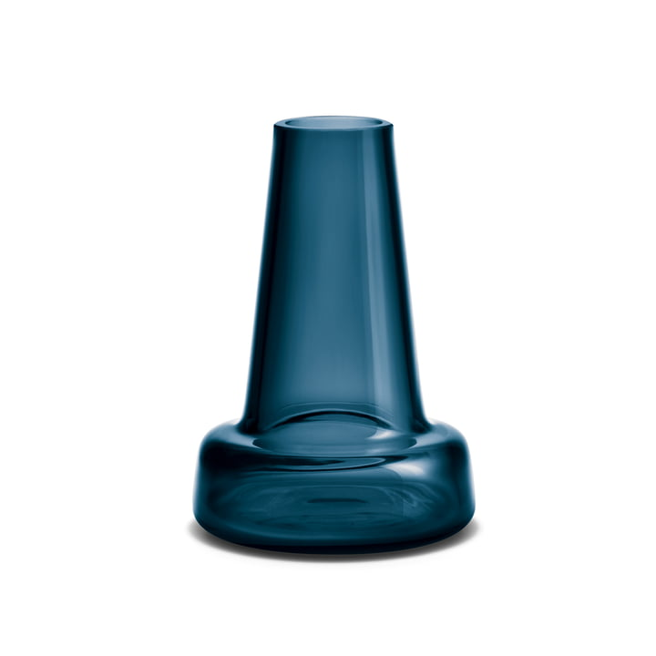 Holmegaard - Flora Vase, long neck, H 12 cm, blue