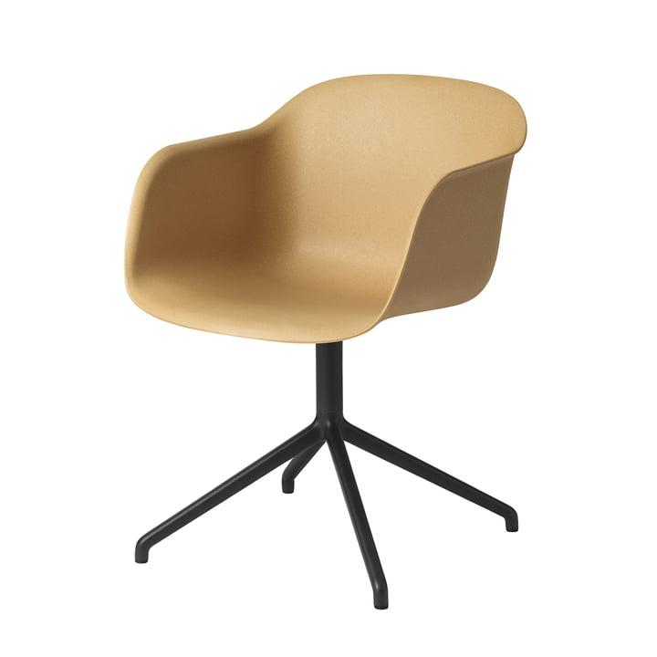 Fiber Chair Swivel Base from Muuto in black / ochre