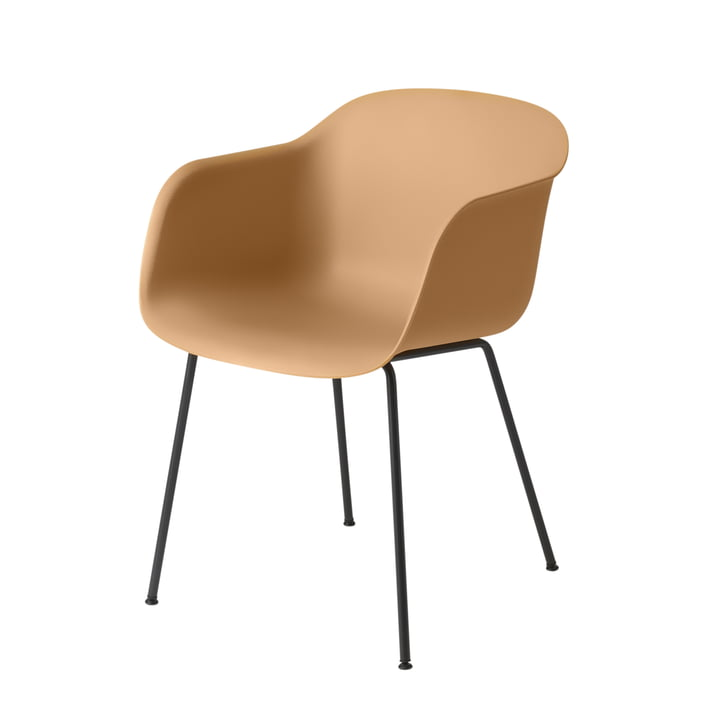 Muuto - Fiber Armchair Tube Base, ochre / black