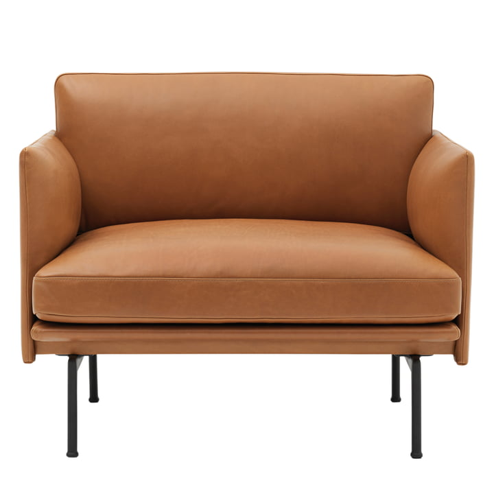 Muuto - Outline Armchair, Cognac silk leather / traffic black (RAL 9017)