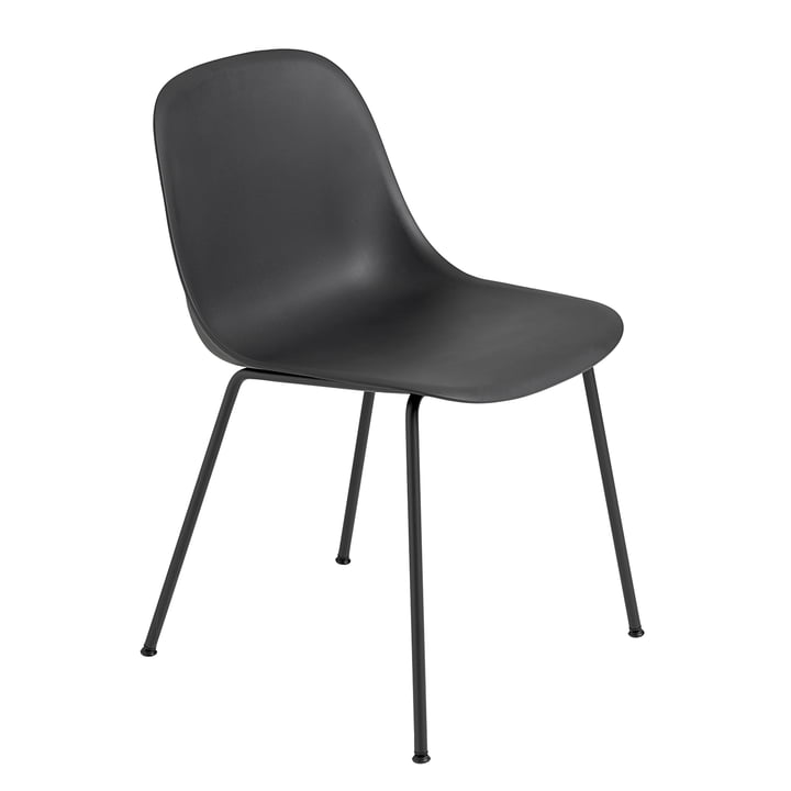 Fiber Side Chair - Tube Base by Muuto in Black / Black