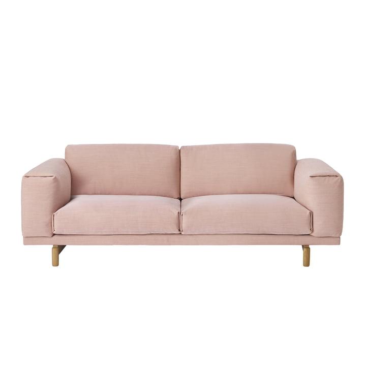 Muuto - Rest Sofa, 2 Sitzer, rosa (Steelcut Trio 515) / Eiche Na