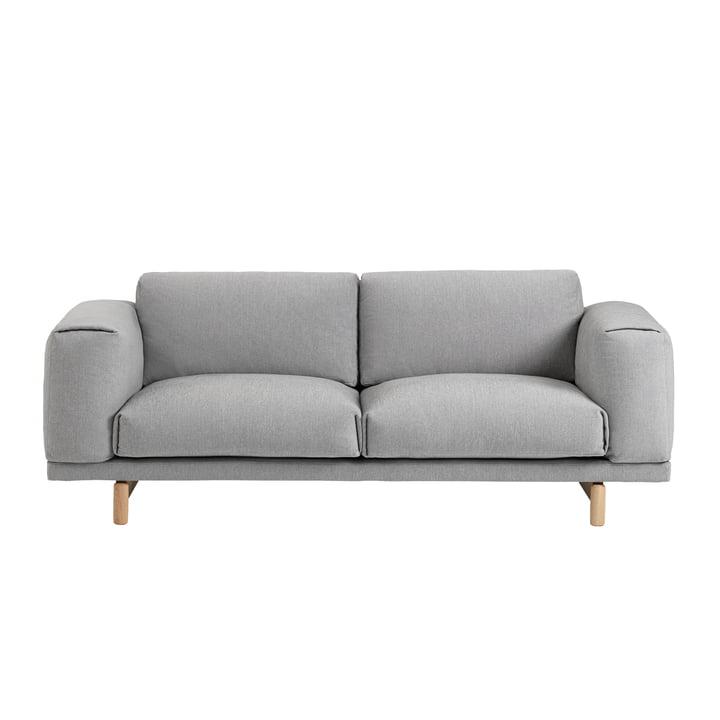 Muuto - Rest Sofa, 2 seater, grey (Hallingdal 123) / oak natural