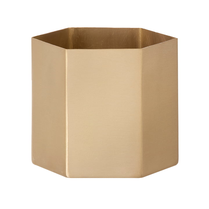 Extra-Large Hexagon Flowerpot by ferm Living in Brass