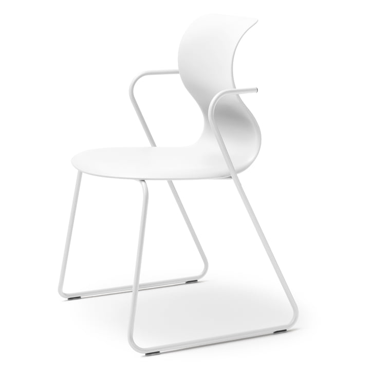 Flötotto - Pro 6 Chair, with armrests, skid frame snow white, seat shell snow white, without padding, standard glides