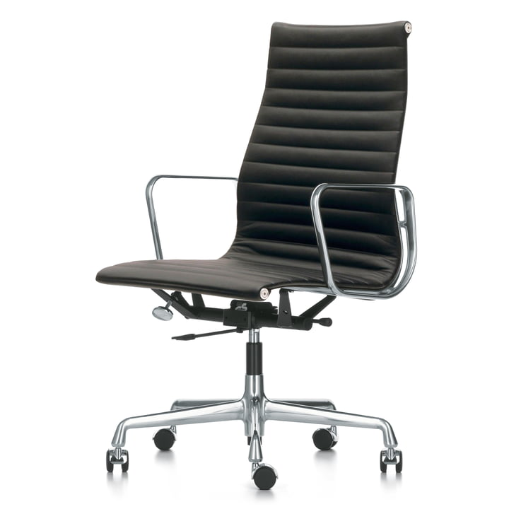 Vitra - EA 119 Office Chair, Chrome with Armrests, Swivel, Black Leather Premium