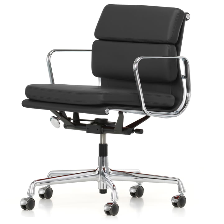 Soft Pad Chair EA 217 chrome by Vitra, swivel with armrests out of premium leather in asphalt (wheels for carpets)