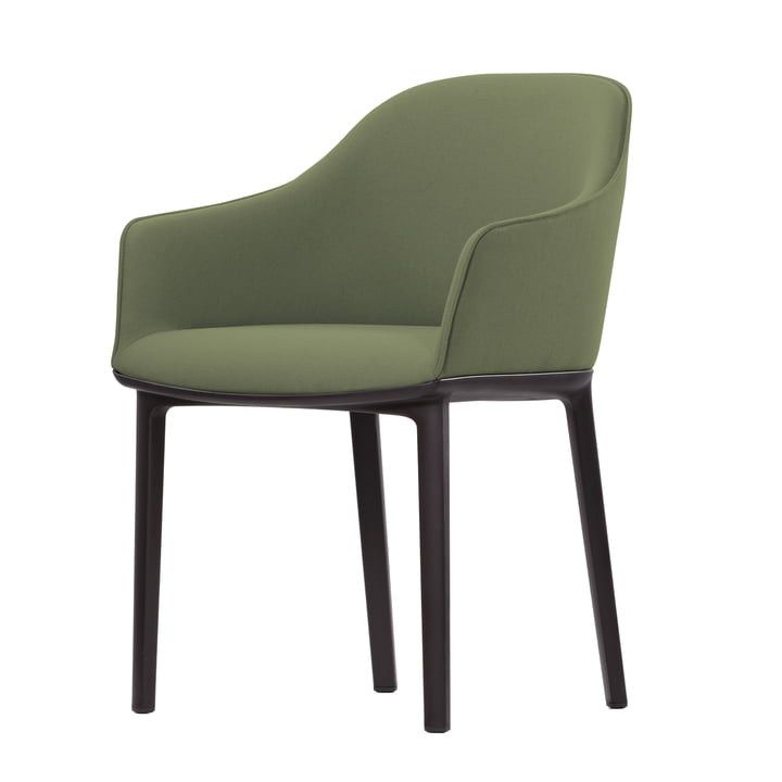 Softshell Chair by Vitra - Chocolate Four-Legged Base, Forest / Sierra Grey Plano
