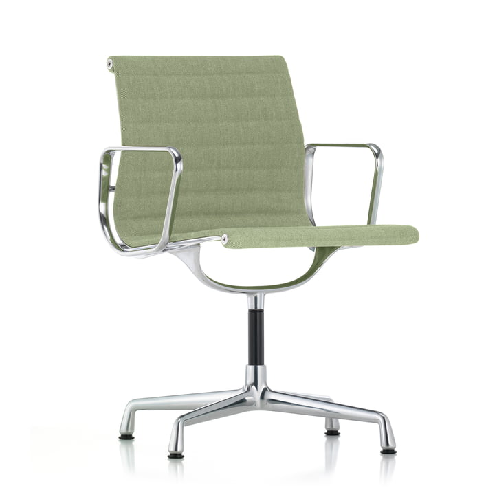 Vitra - EA 104 Chair, Swivel with Armrests, Ivory / Forest Cover, Chromed Base