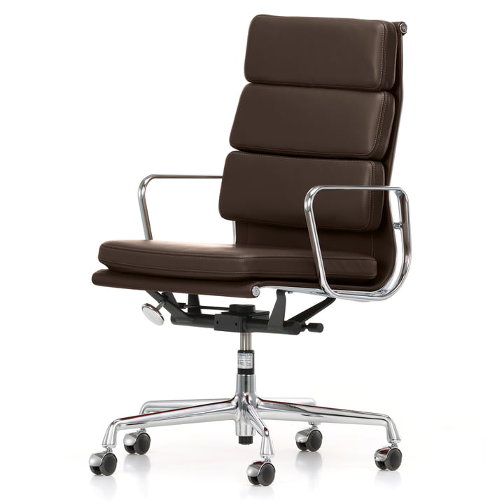 Soft Pad Chair EA 219 from Vitra in Chrome / Chocolate