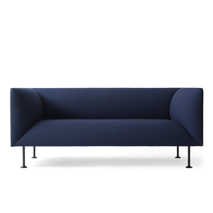 The dark blue Godot Sofa by Menu from the front