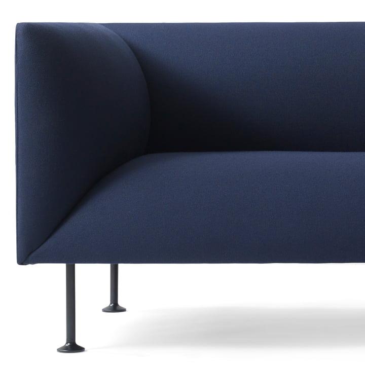 Detailed view of the Menu Godot sofa in dark blue