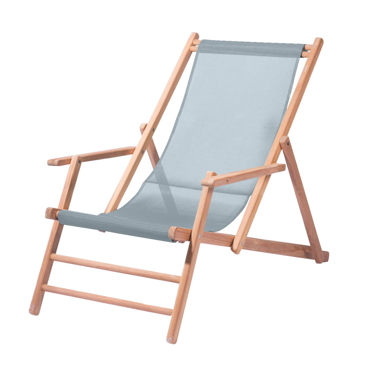 Jan Kurtz - Deckchair Teak, plastic cover fabric, ocean blue