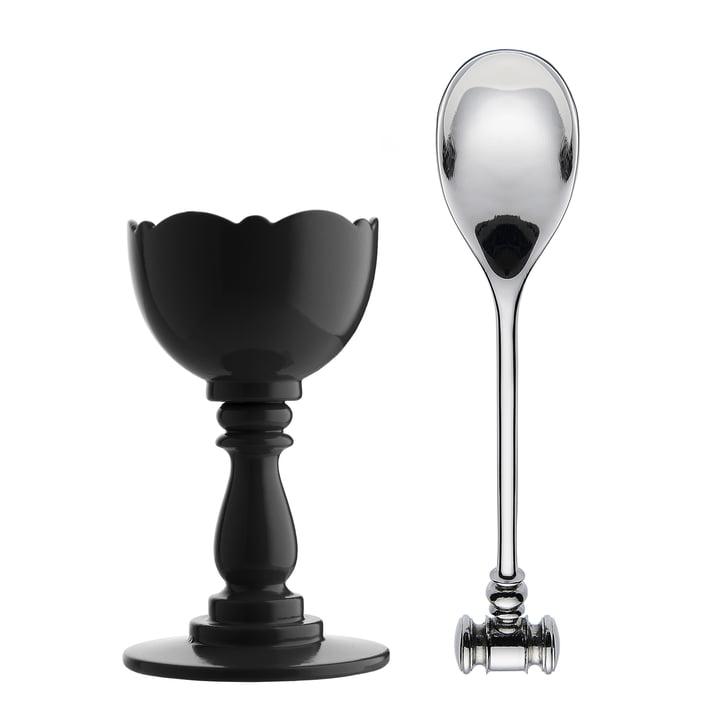 Alessi - Dressed Eggcup with Spoon, black
