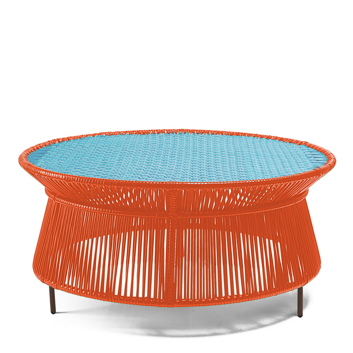 ames - caribe Low Table, orange / turquoise / brown