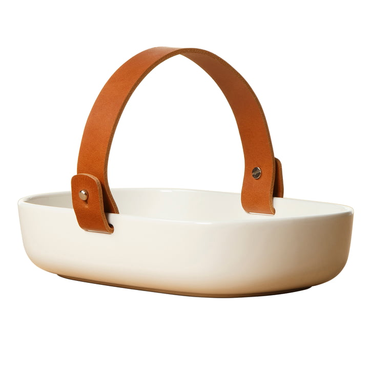 Oiva serving bowl with leather handle by Marimekko