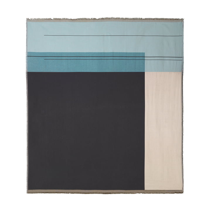 Colour Block throw 240 x 250 cm by ferm living in dusty blue