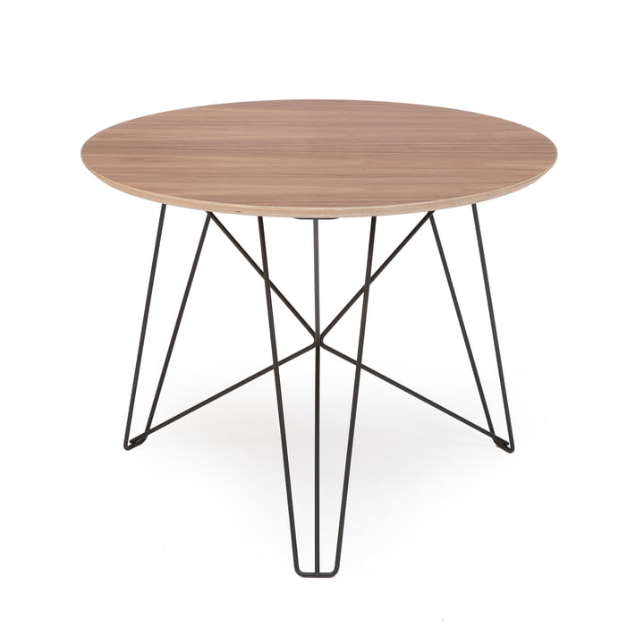 Spectrum - IJhorst coffee table L, Ø 60 cm, black (RAL 9005) / walnut