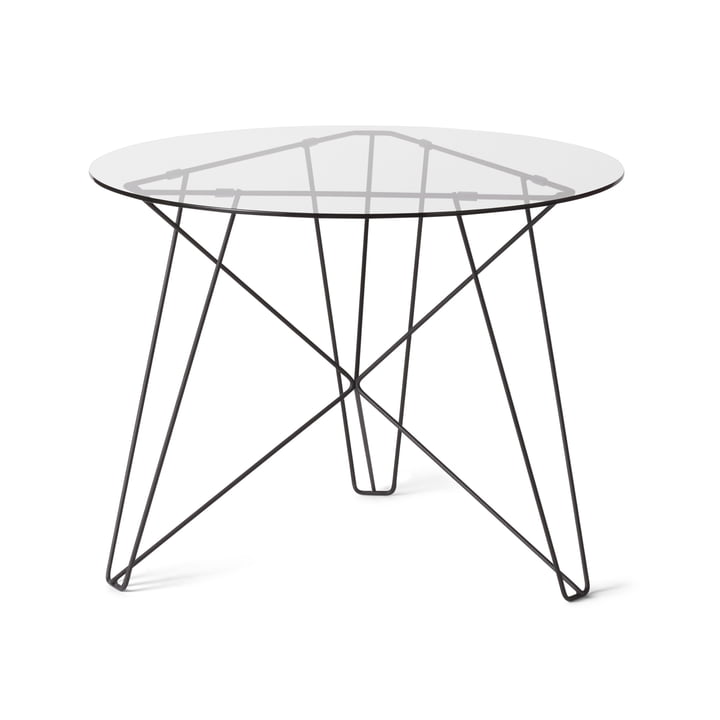 Spectrum - IJhorst coffee table L, Ø 60 cm, black (RAL 9005) / light glass