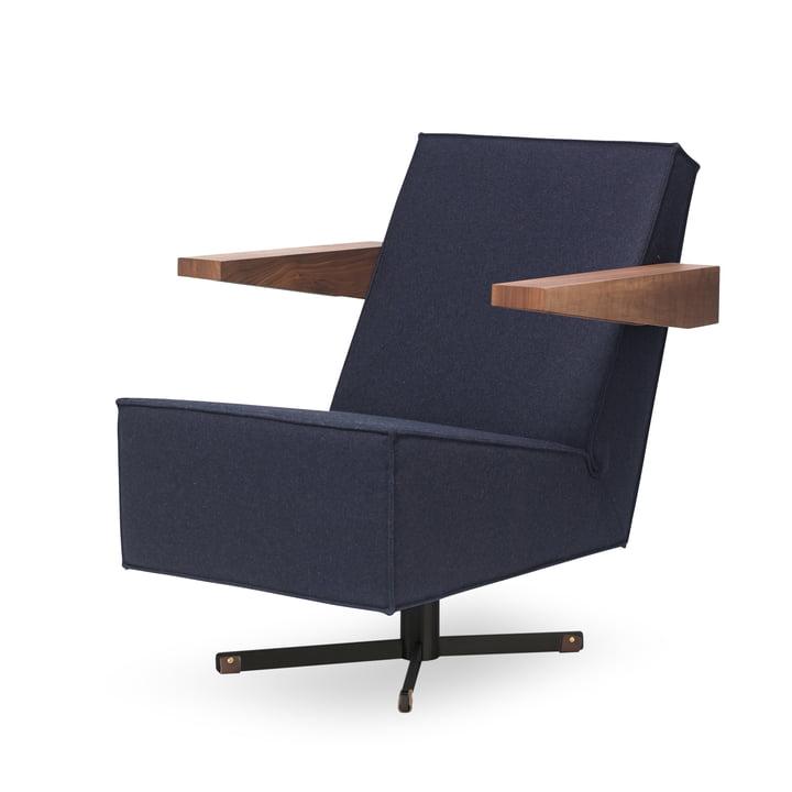 Spectrum - Press Room Chair, dark blue upholstery (Divina 3 / 791), black frame / walnut armrests / medium brown foot strap