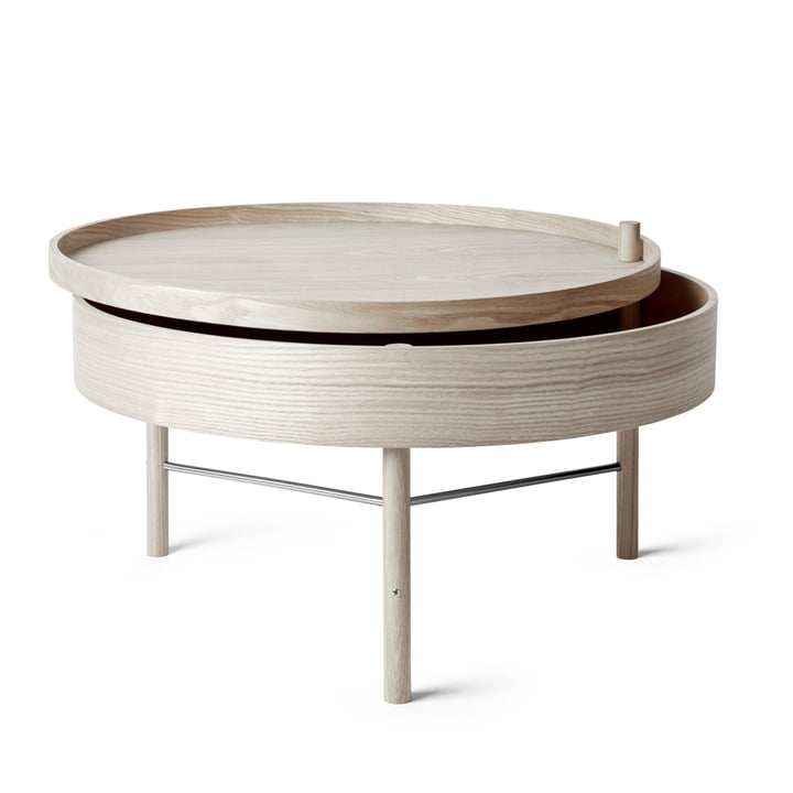 Turning Table from Menu in oak white / black chrome struts