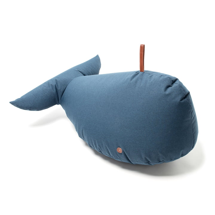 Blue soft toy whale with leather handle