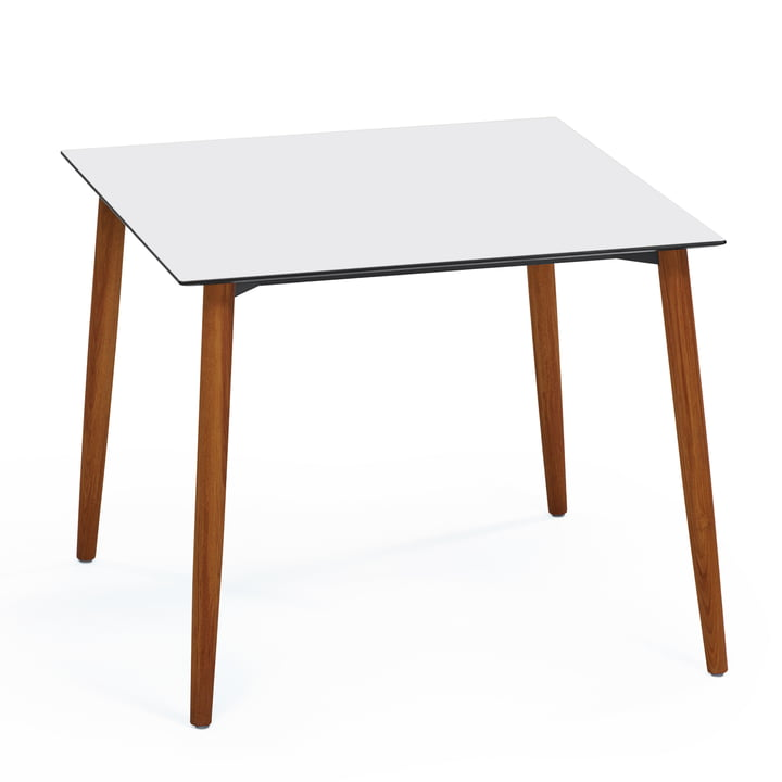 Slope Table 90 x 90 cm by Weishäupl out of Teak Wood in HPL White