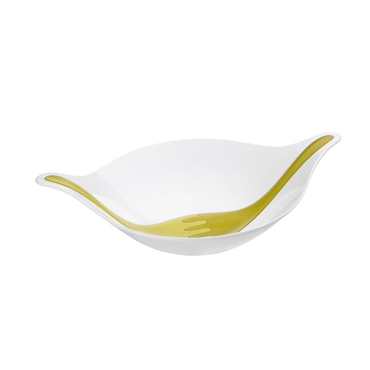 Koziol - Leaf salad bowl with server, 3 L, olive / green mustard