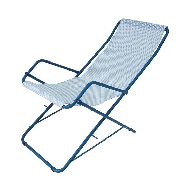 Bahama Deckchair by Emu in Blue / Light Blue