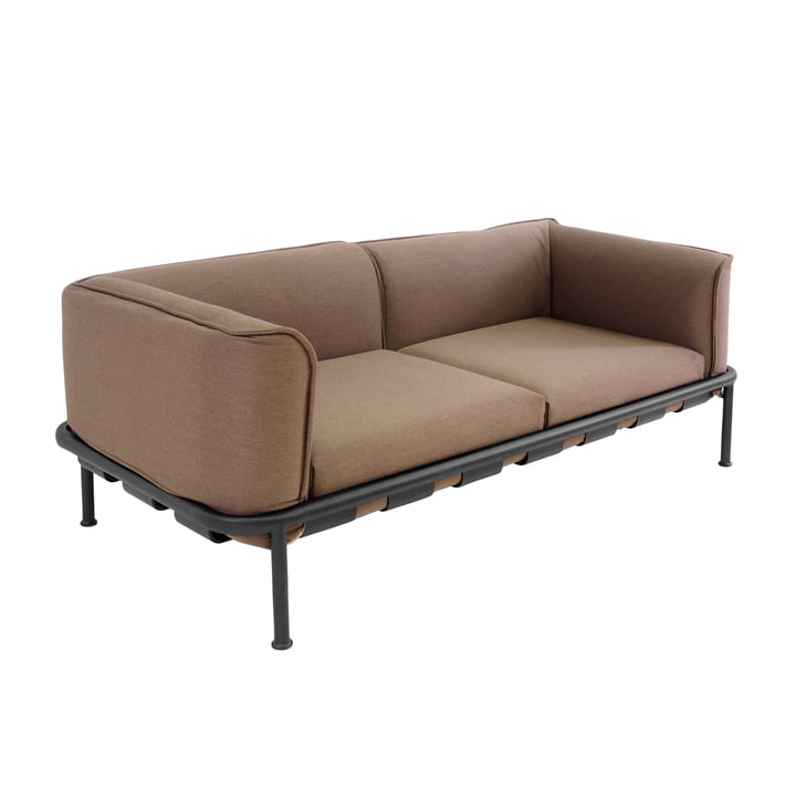 Dock 2-seater sofa by Emu in black with brown cushion.