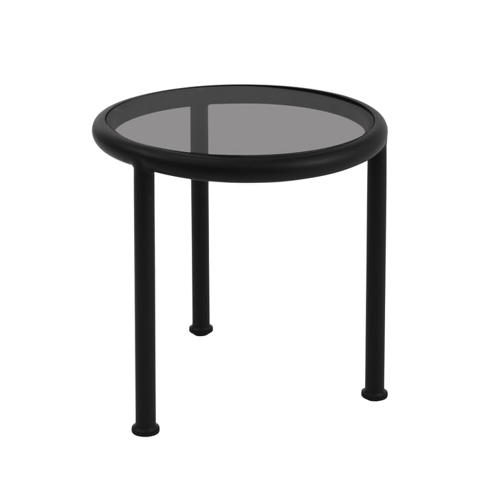 Round Dock table by Emu in black with smoky gray glass