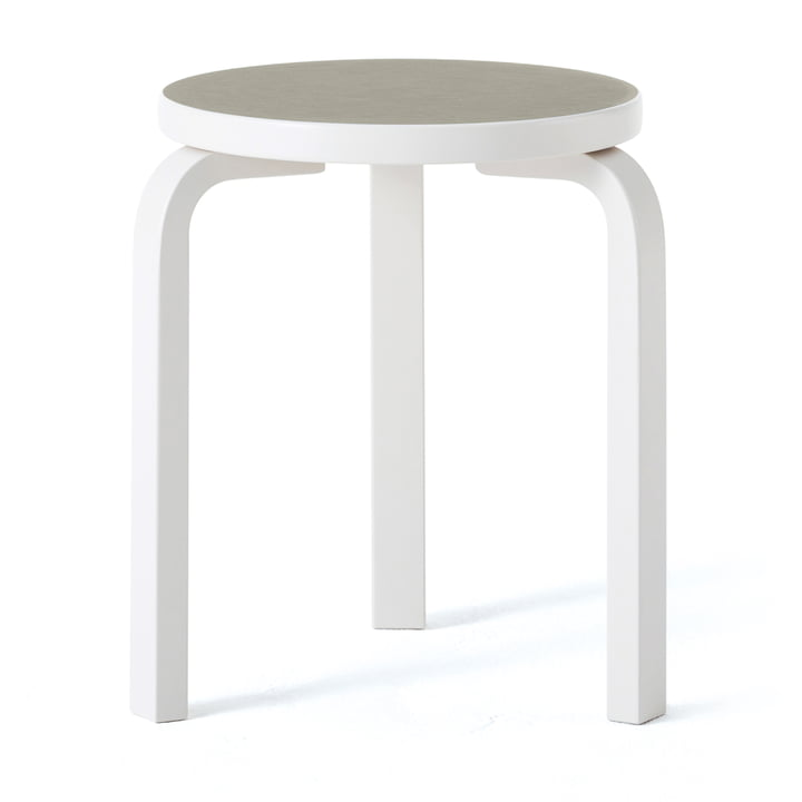 Stool 60 by Artek in white / gravel