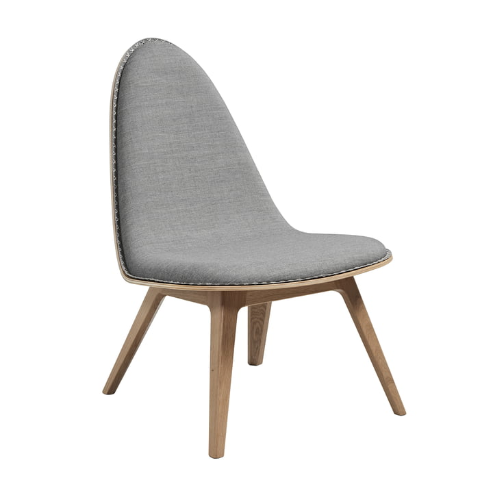Nordic Lounge Chair by Sack it in Light Stained Oak / Light Gray Remix, with Stitches