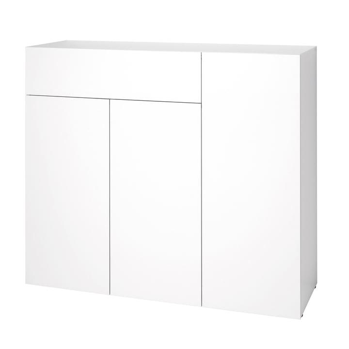 Urban Dresser 1074 (120 cm, 3 doors / 1 drawer) by Schönbuch in snow white (RAL 9016)