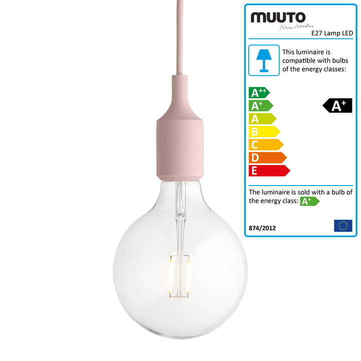 Muuto - E27-Socket Pendant Lamp LED, pink