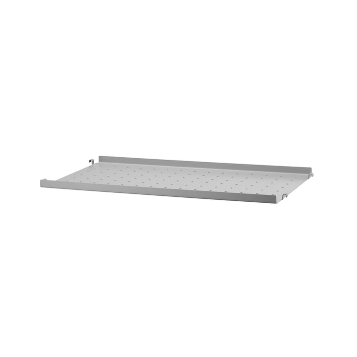 Metal Shelf Low Edge, 58 x 30 cm by String in Grey