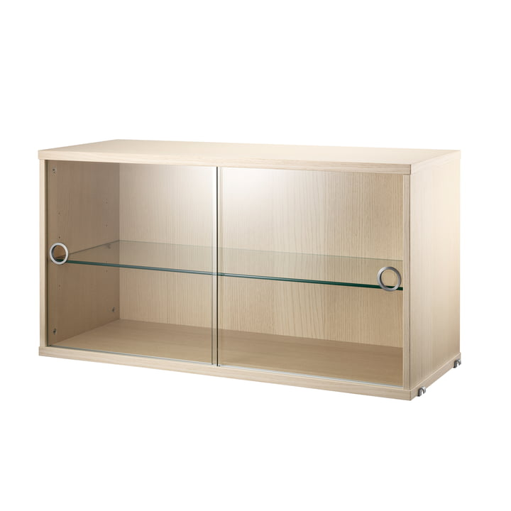 Cabinet with sliding glass doors 78 x 30 cm by String in ash