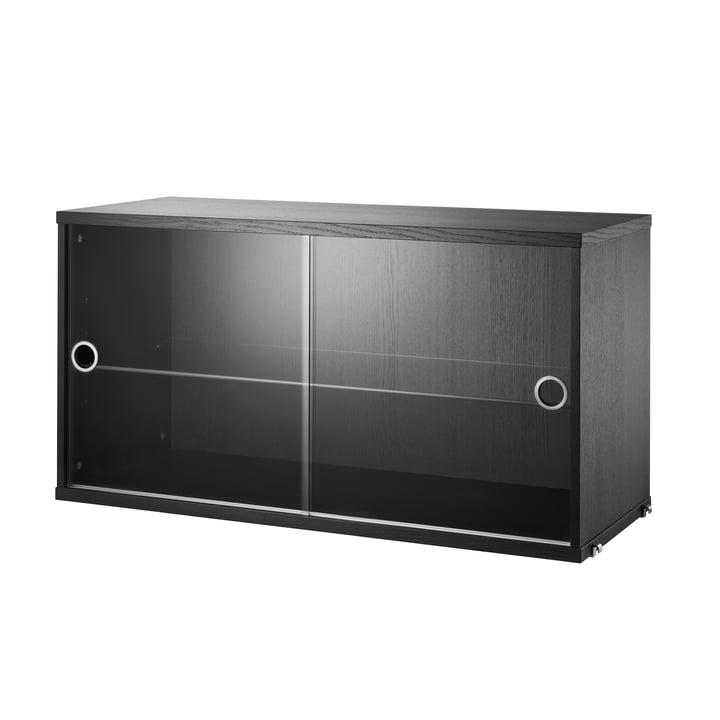 Cabinet with sliding glass doors 78 x 30 cm by String in black stained ash