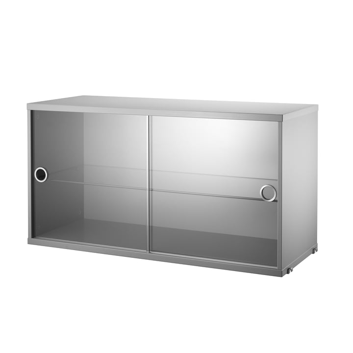 Cabinet with sliding glass doors 78 x 30 cm by String in gray