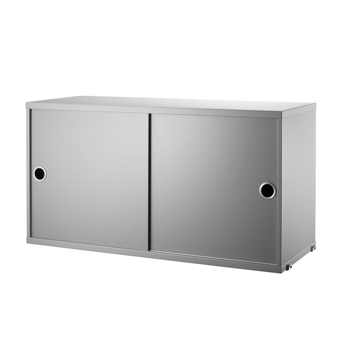 Cabinet Module with Sliding Doors 78 x 30 cm by String in Grey