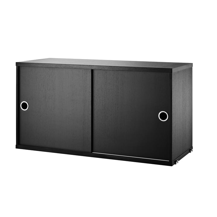 The Cabinet Module with Sliding Doors 78 x 30 cm by String in Black Stained Ash