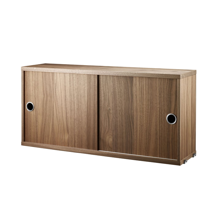 Cabinet Module with Sliding Doors 78 x 20 cm by String in Walnut