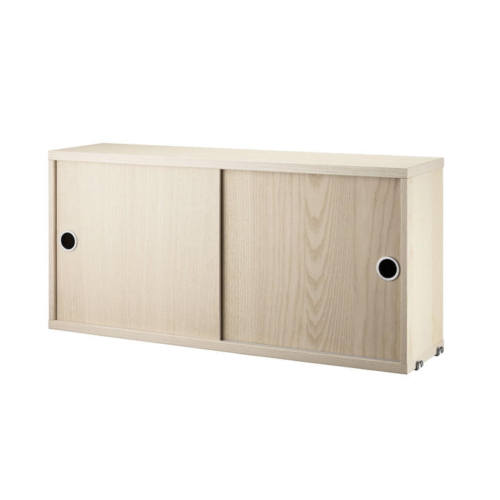 Cabinet Module with Sliding Doors 78 x 20 cm by String in Ash