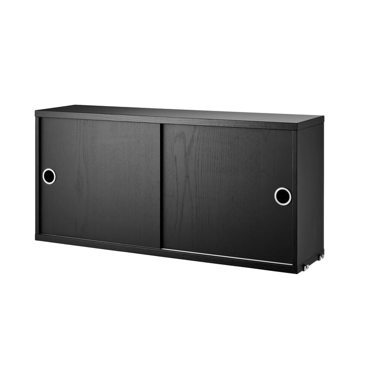 The Cabinet Module with Sliding Doors 78 x 20 cm by String in Black Stained Ash
