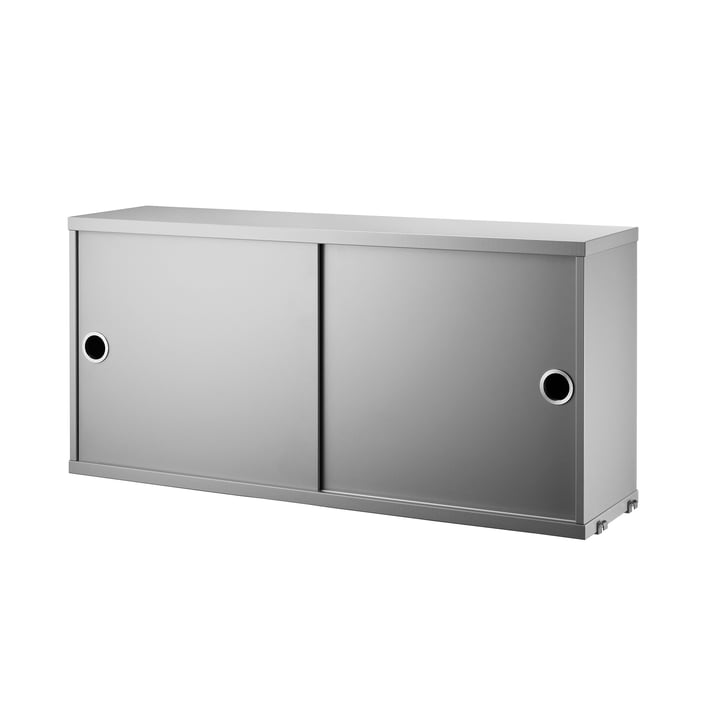 Cabinet Module with Sliding Doors 78 x 20 cm by String in White in Grey