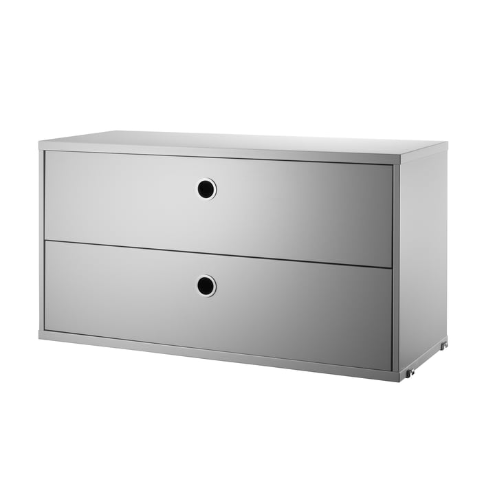 Cabinet with Drawers 78 x 30 cm by String in Grey.