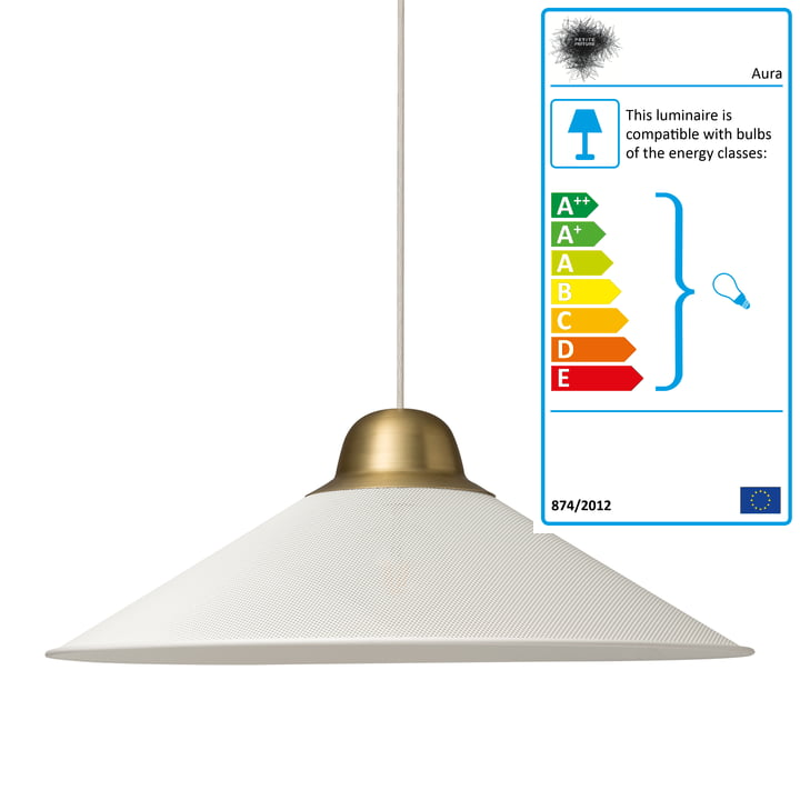 Aura pendant lamp, large by Petite Friture in white / brass