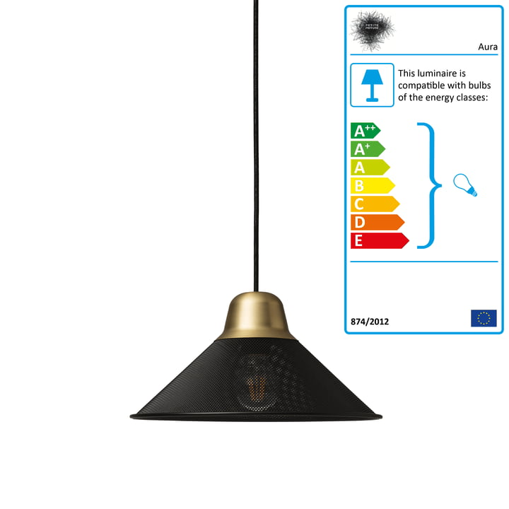 Aura pendant lamp, small by Petite Friture in black / brass